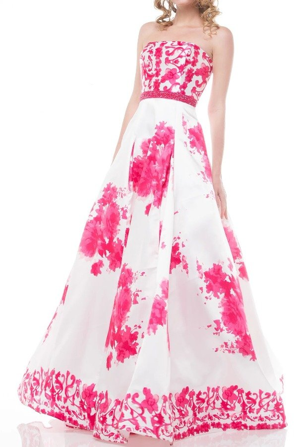 Colors Dress White Pink Fuchsia Ball Gown Prom Dress 1644