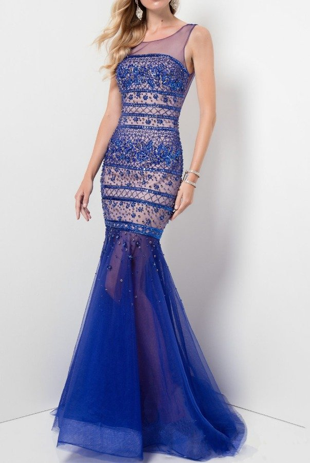 Terani Couture Royal Blue Embellished Illusion Gown Prom Dress