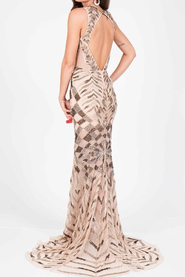 Terani Couture Beaded Open Back Gown in Gold Nude Prom Dress | Poshare