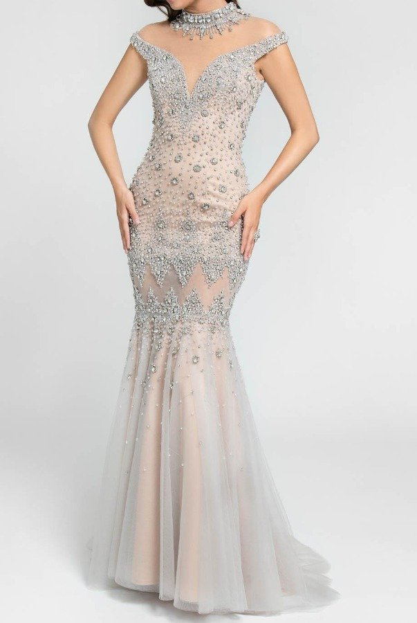 Terani Couture Illusion Crystal Encrusted Mermaid Gown in Blush