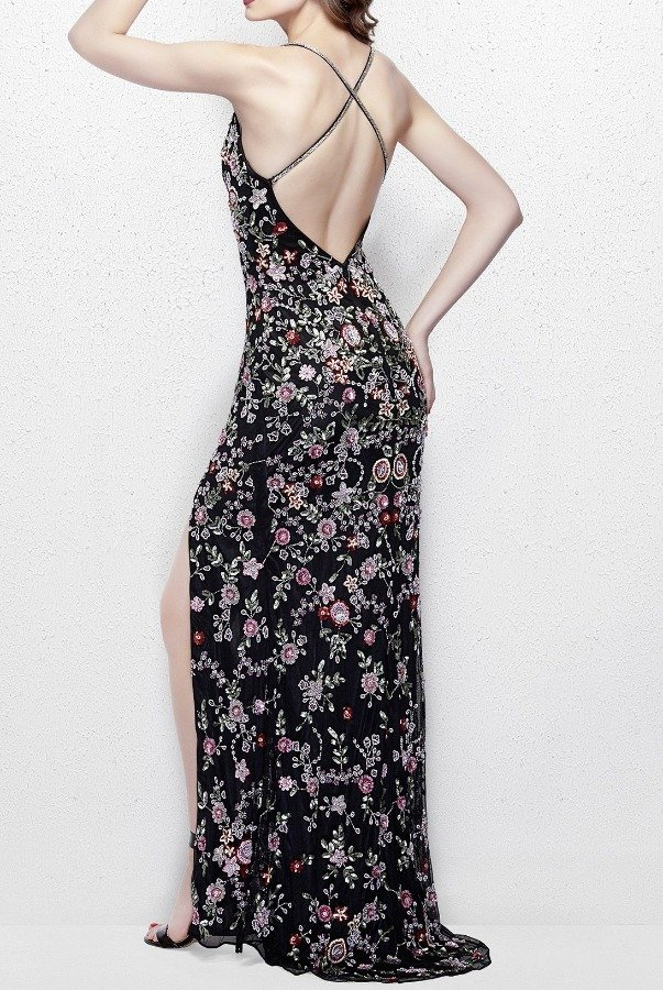 4cc40702501 ... Primavera Couture 3073 Lively Black Floral Sequin Gown Prom Dress ...