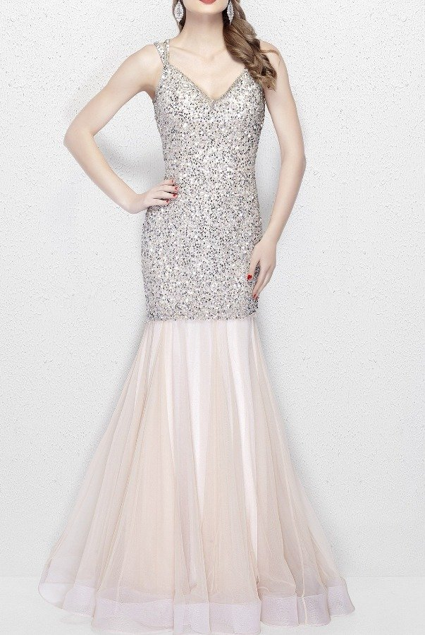 Primavera Couture 3039 V Neck Sequin Mermaid Gown in Nude Silver ...