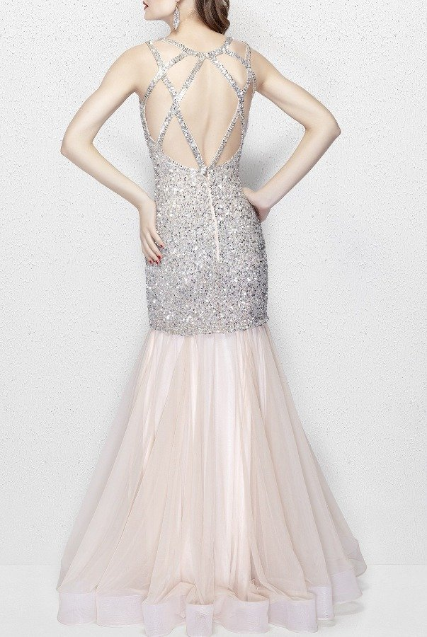Primavera Couture 3039 V Neck Sequin Mermaid Gown in Nude Silver