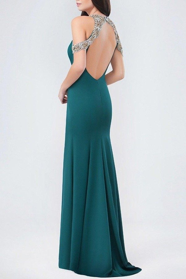 Val Stefani Dark Green Emerald Charmed Trumpet Gown 3245RE