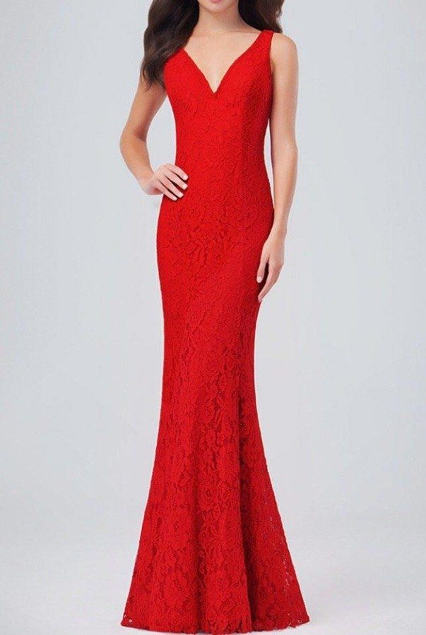 Val Stefani Red Lace V Neck Trumpet Gown Prom Dress