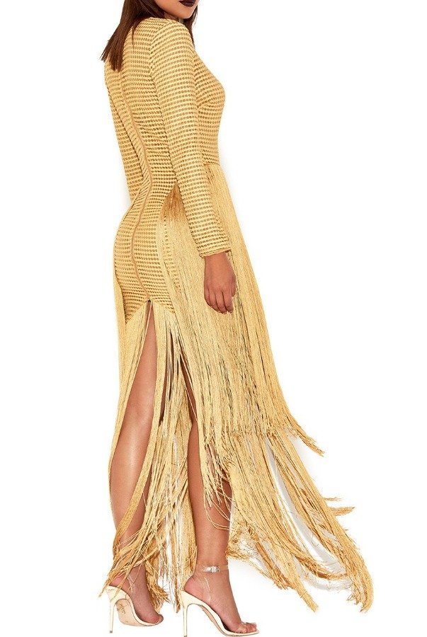 House of CB Long Sleeve Deep V Neck Fringe Dakota Dress Gown