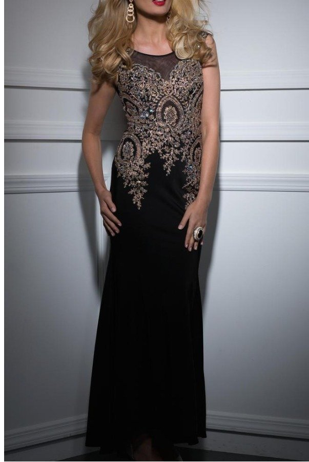 Clarisse Black Gold Beaded Embellished Evening Gown 4507 | Poshare