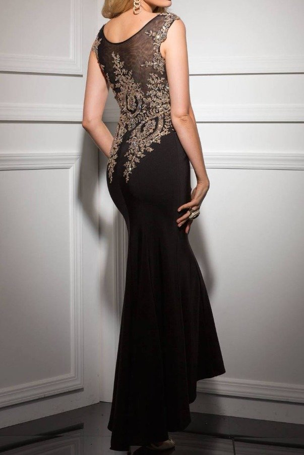 Clarisse Black Gold Beaded Embellished Evening Gown 4507