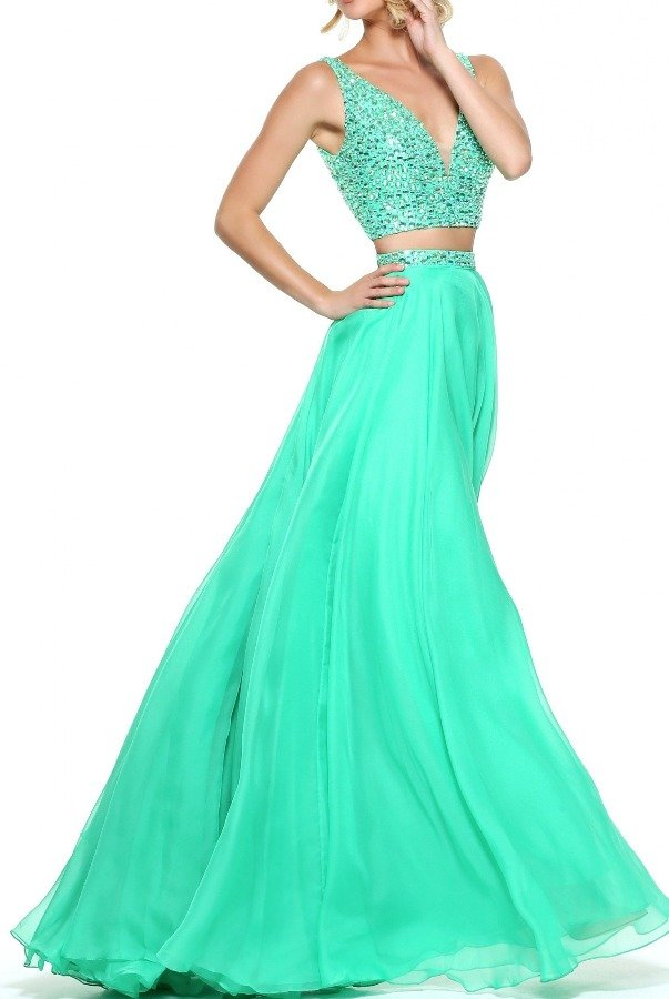 Sherri Hill Mint Green 2 Piece Gown Prom Dress 51008