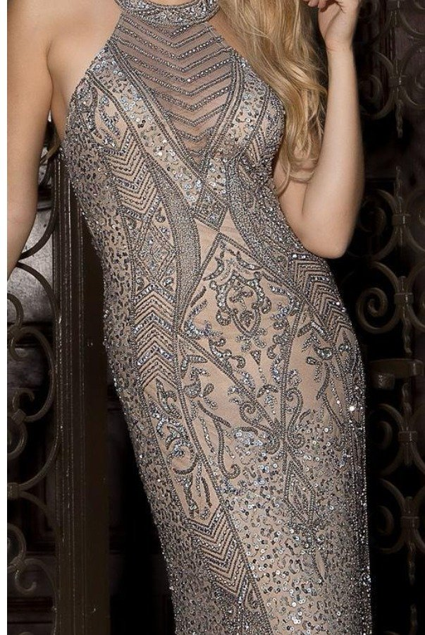 Scala Halter Beaded Lead Evening Gown Dress 48690