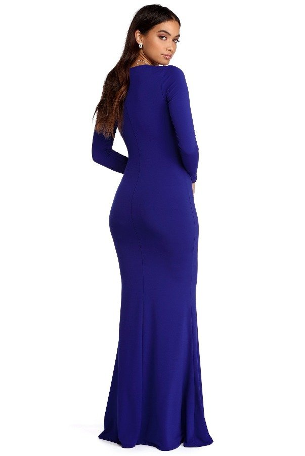 The Frock Shop Cobalt Royal Blue Long Sleeve Plunge Bodycon Gown