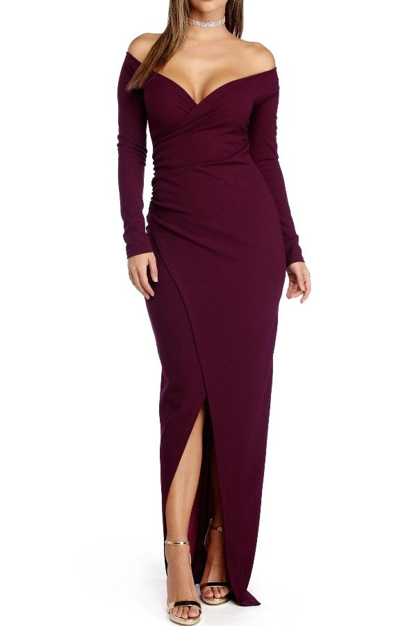 The Frock Shop Deep Plum Wrap Long Sleeve Bodycon Evening Gown