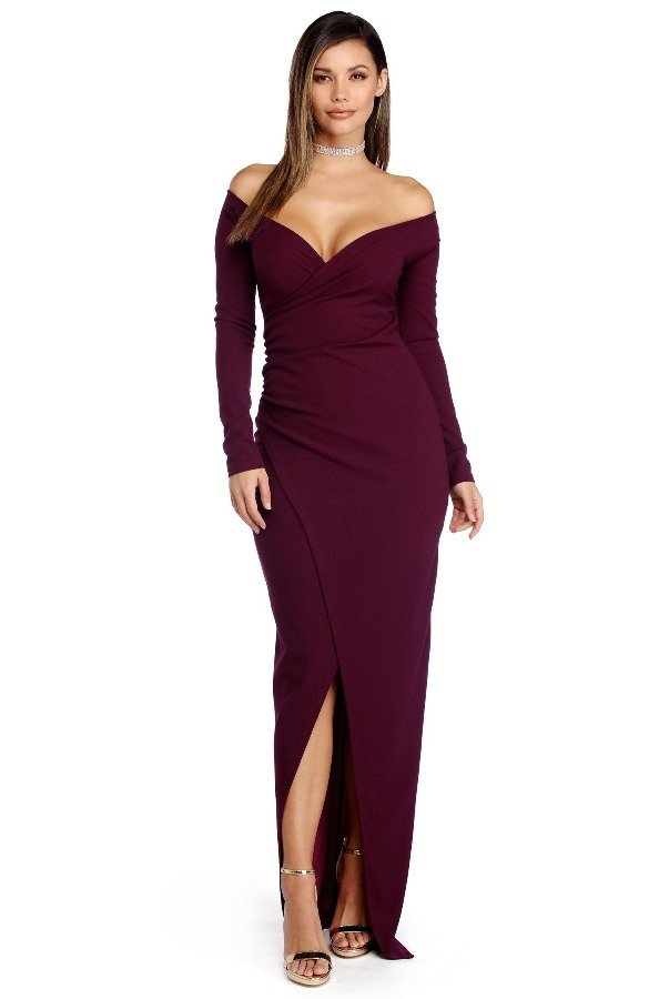 4f56798cd3a5b The Frock Shop Deep Plum Wrap Long Sleeve Bodycon Evening Gown | Poshare