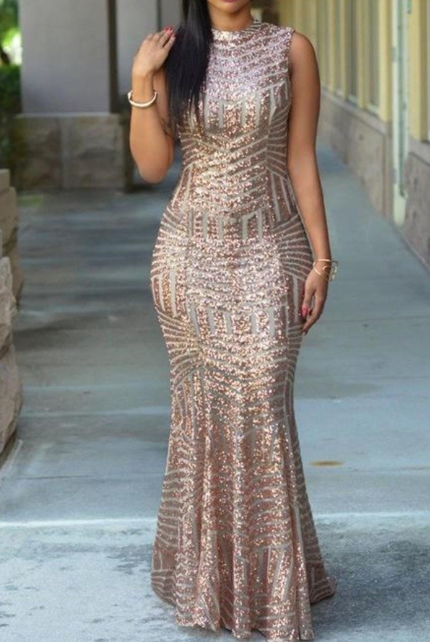L'atiste by Amy Rose Gold Sequin Gown with open back evening dress