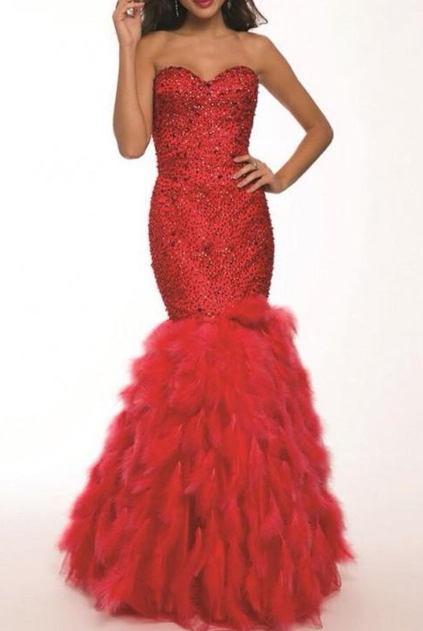 Jovani Red Feather Mermaid Gown 92526 Chic Evening Dress
