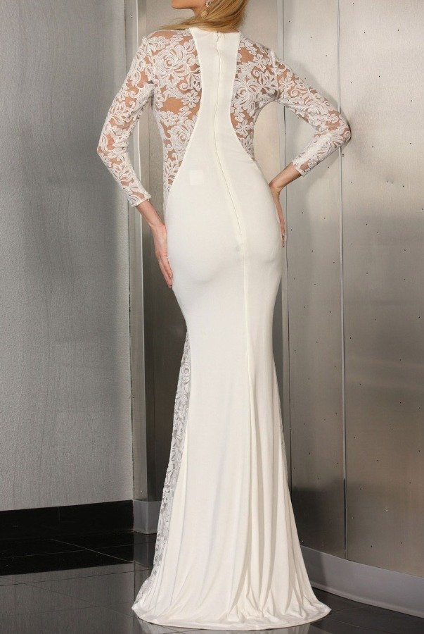 Xcite IVORY AND LACE PANEL GOWN