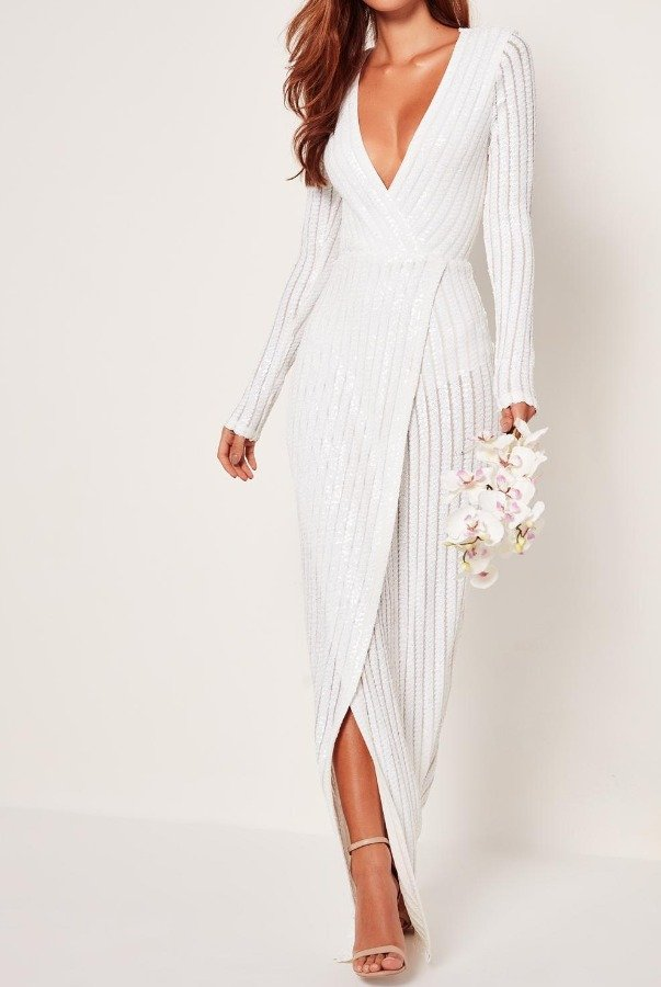 Missguided White Sequin Wrap Gown Wedding Dress | Poshare