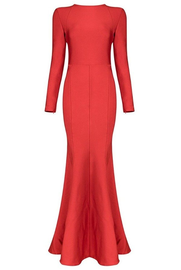 The Frock Shop Red Bandage Long Sleeve Mermaid Evening Gown
