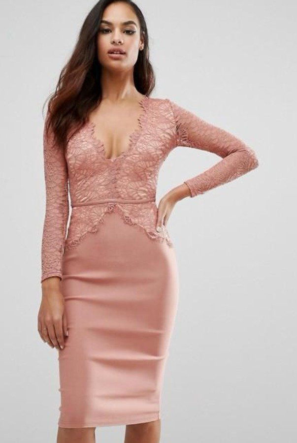 Rare London Rose Long Sleeve Scalloped Midi Cocktail Dress