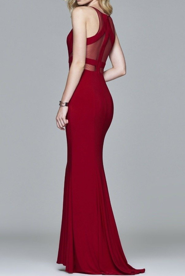 Faviana Ruby Red Halter illusion Insert Prom Dress 7921