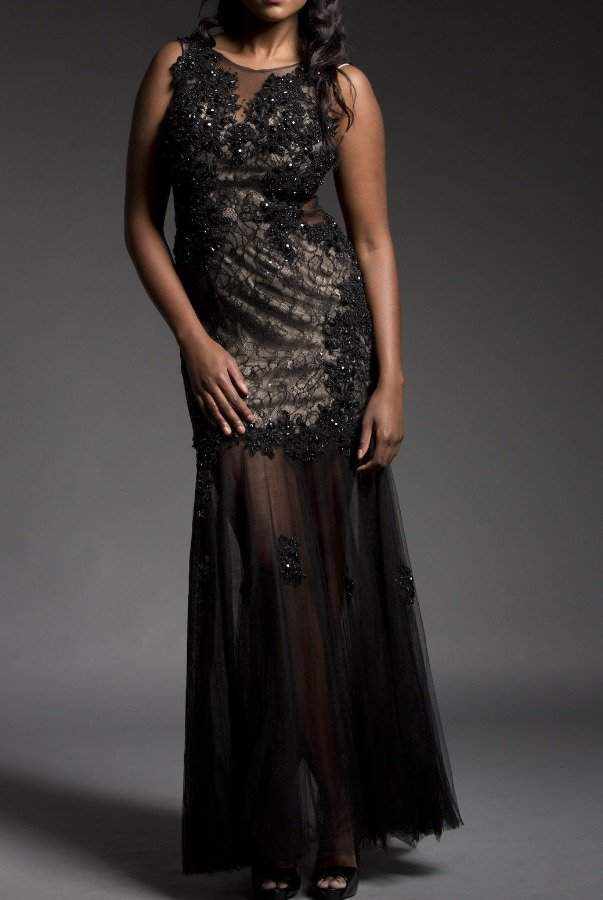 Dave and Johnny BLACK MESH APPLIQUE FLORAL GOWN