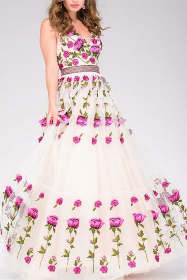 Jovani Floral A Line Gown Prom Dress 47743