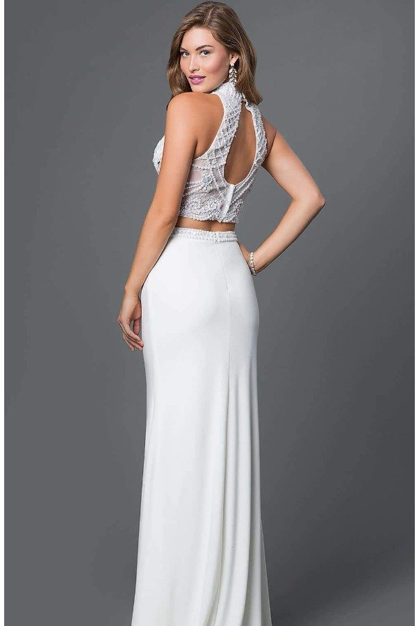 Blush Prom White Beaded Halter Two piece Gown Dress
