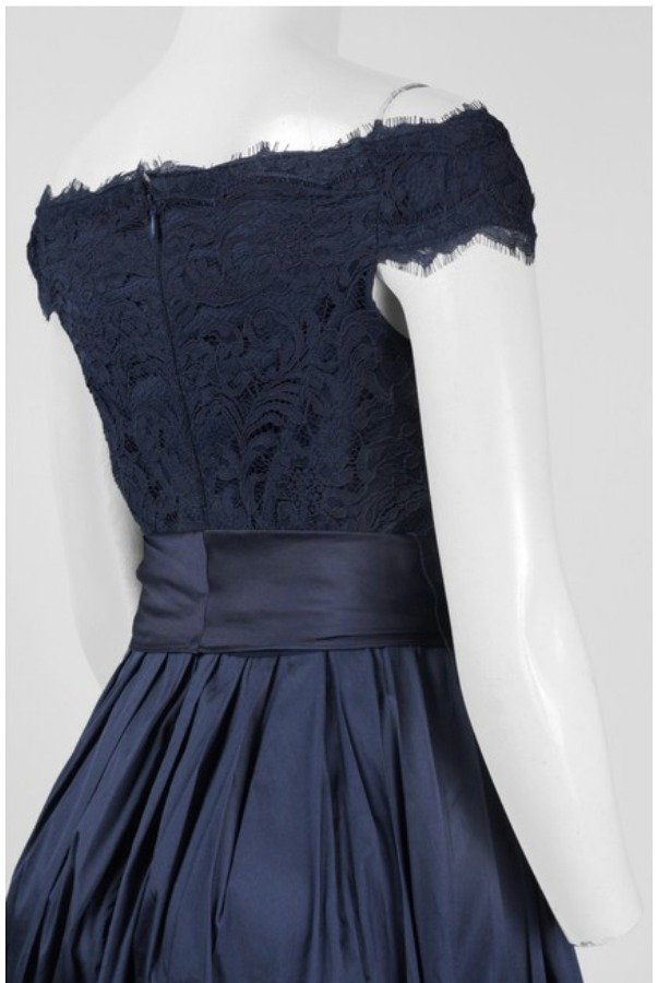 Adrianna Papell Lace  High Low Gown Blue Navy Off Shoulder Dress