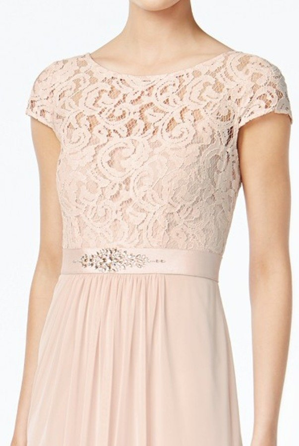 Adrianna Papell Blush Cap Sleeve Lace Illusion A Line Gown Dress