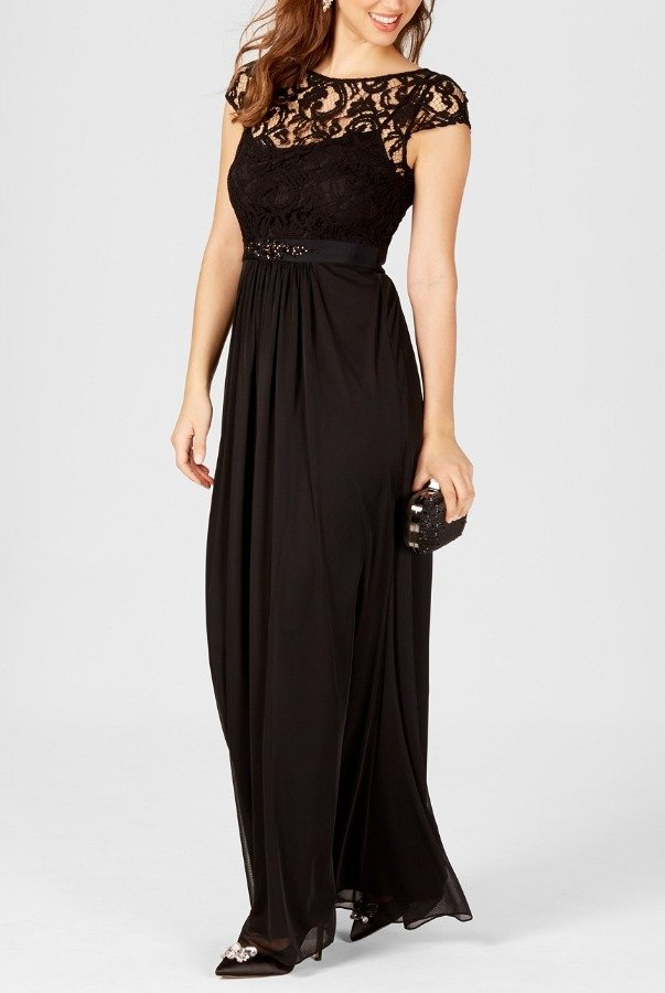 Adrianna Papell Black Cap Sleeve Lace Illusion Gown Dress