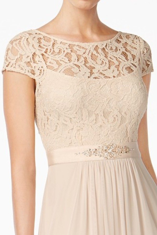 Adrianna Papell Cap Sleeve Lace Illusion Gown Dress in Almond