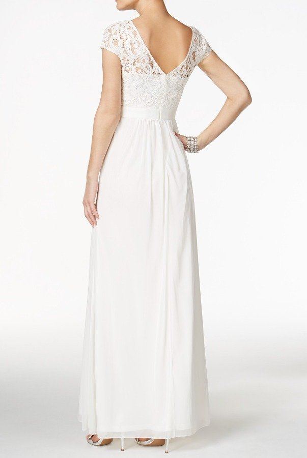 Adrianna Papell Cap Sleeve Lace Illusion Gown Dress in Almond | Poshare
