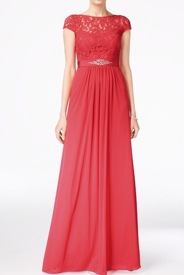 Adrianna Papell Cap Sleeve Lace illusion Gown Dress French Coral
