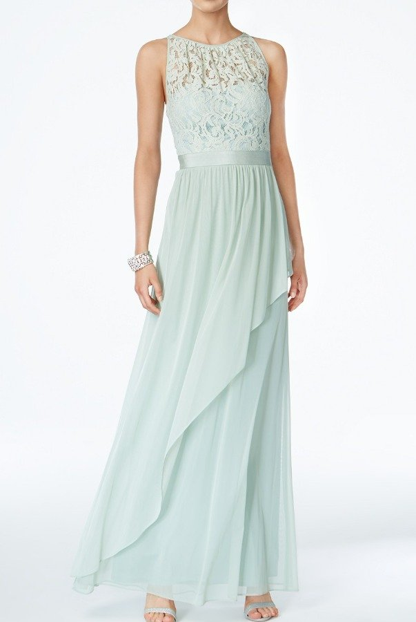 Adrianna Papell Lace Illusion Halter Gown Dress Mint | Poshare
