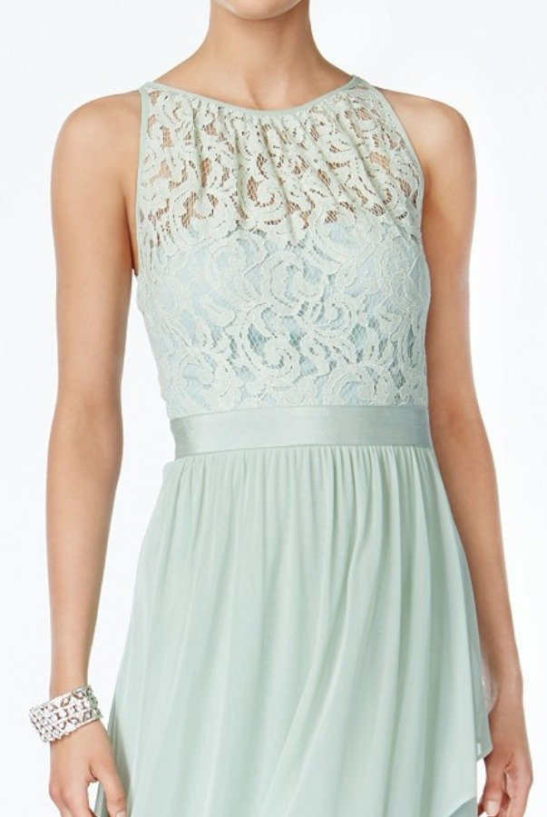 Adrianna Papell Lace Illusion Halter Gown Dress Mint