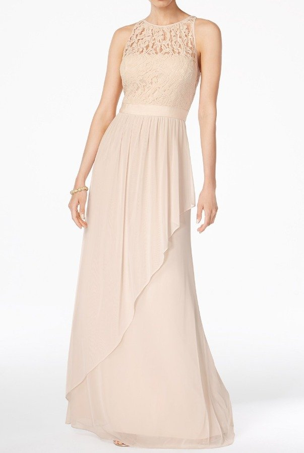 997784af6df Adrianna Papell Lace Illusion Halter Gown Dress Almond Champagne ...