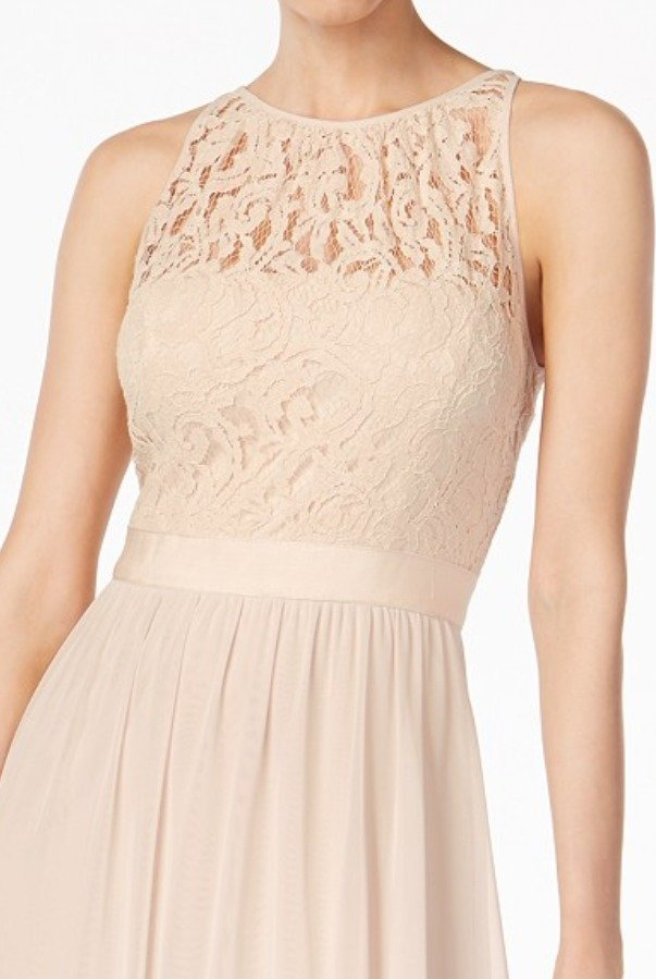 Adrianna Papell Lace Illusion Halter Gown Dress Almond Champagne