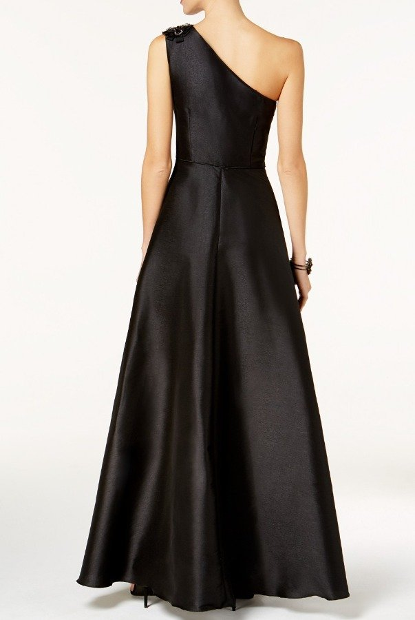 Adrianna Papell Black One Shoulder A Line Mikado Ruffle Gown Dress