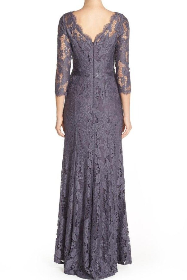 Adrianna Papell Illusion Yoke Lace Gown Gray Silver Long Sleeve
