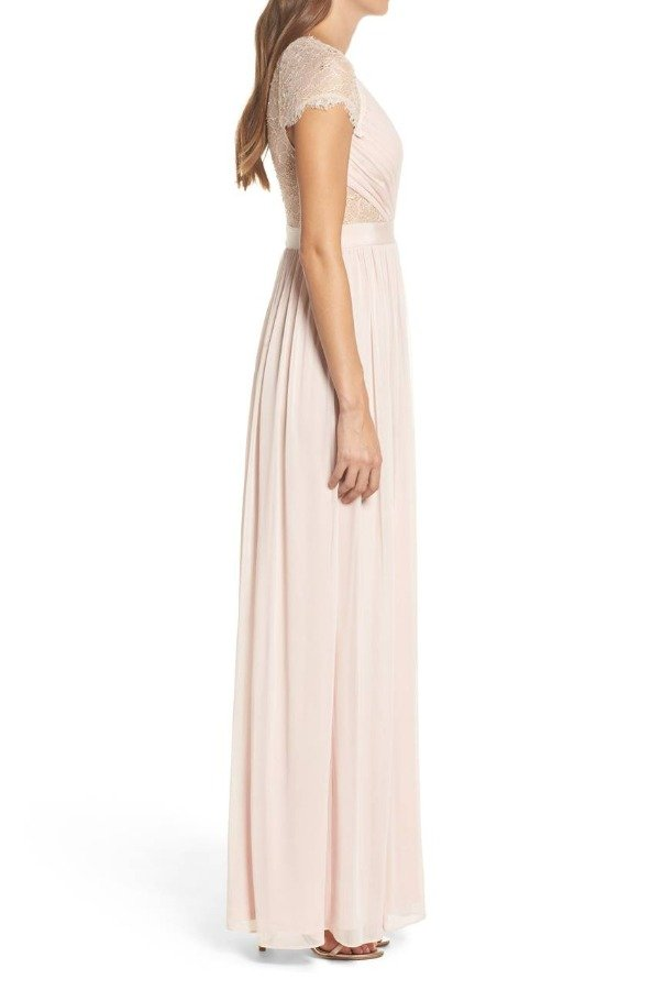 Adrianna Papell Lace and Tulle Blush Gown Bridesmaid Dress