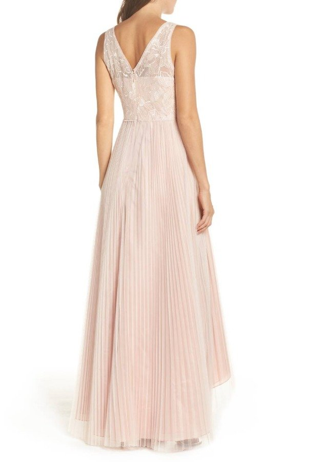 Adrianna Papell Sequin Pleated Tulle High Low Gown  Blush