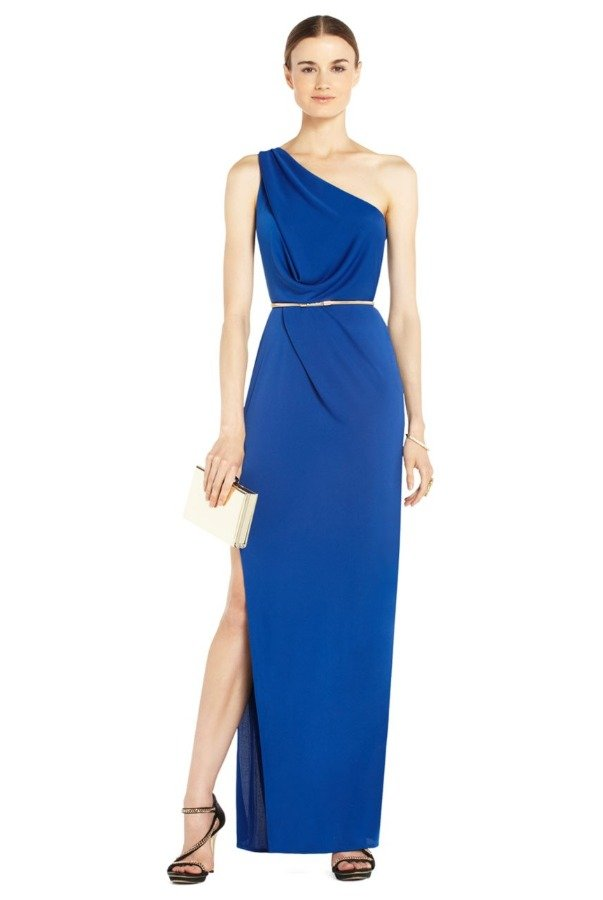 BCBG Senejana Blue One Shoulder Gown