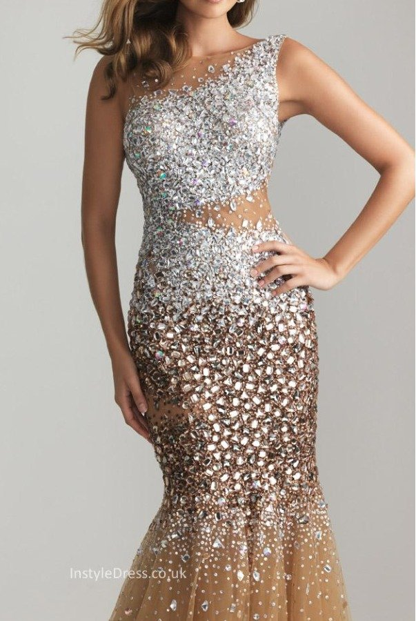 Blush Tan Bronze Stone Encrusted Sparkly Gown Prom Dress