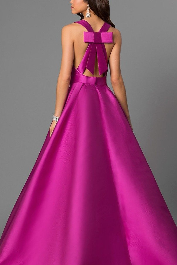 Jovani Deep V Neck Plunging Purple Ball Gown