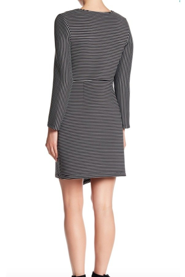 Why Dress Asymmetrical Striped Dress Scuba Black White