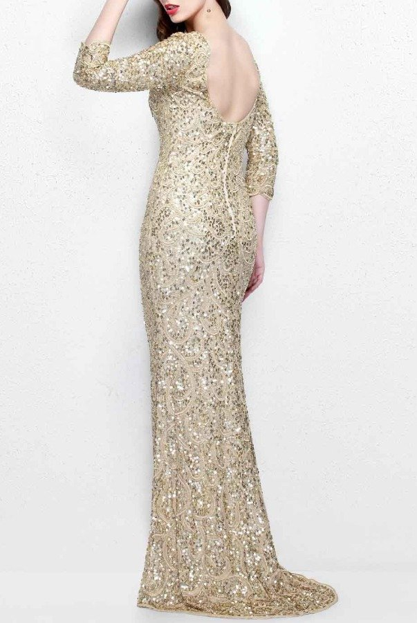 Primavera Couture Long Sleeved Sequined Evening Gown Champagne Gold ...