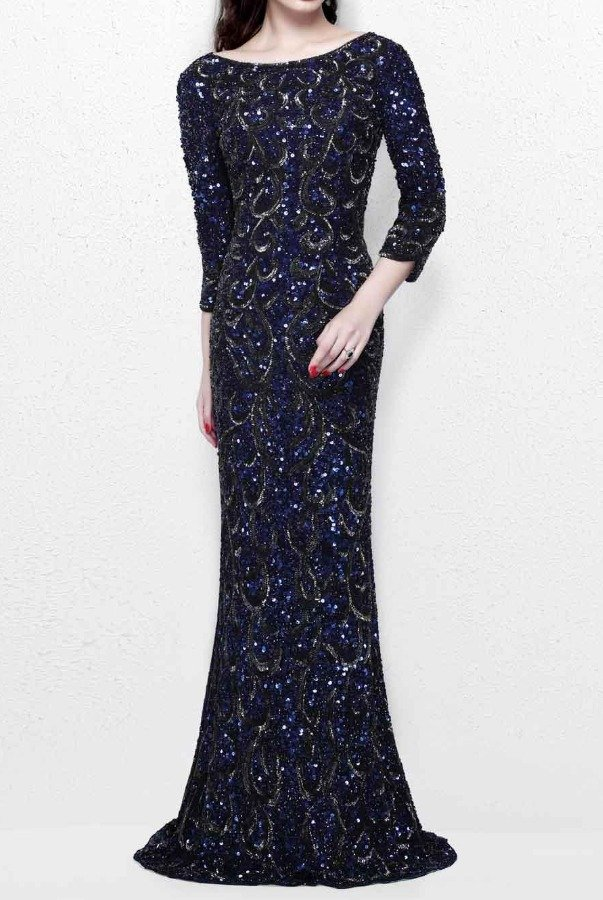 Primavera Couture Navy Sequin Beaded Long Sleeve Gown Dress 1747