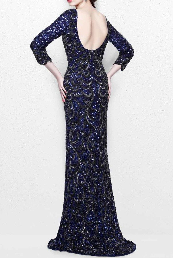 71a10d1af998 Primavera Couture Navy Sequin Beaded Long Sleeve Gown Dress 1747 ...