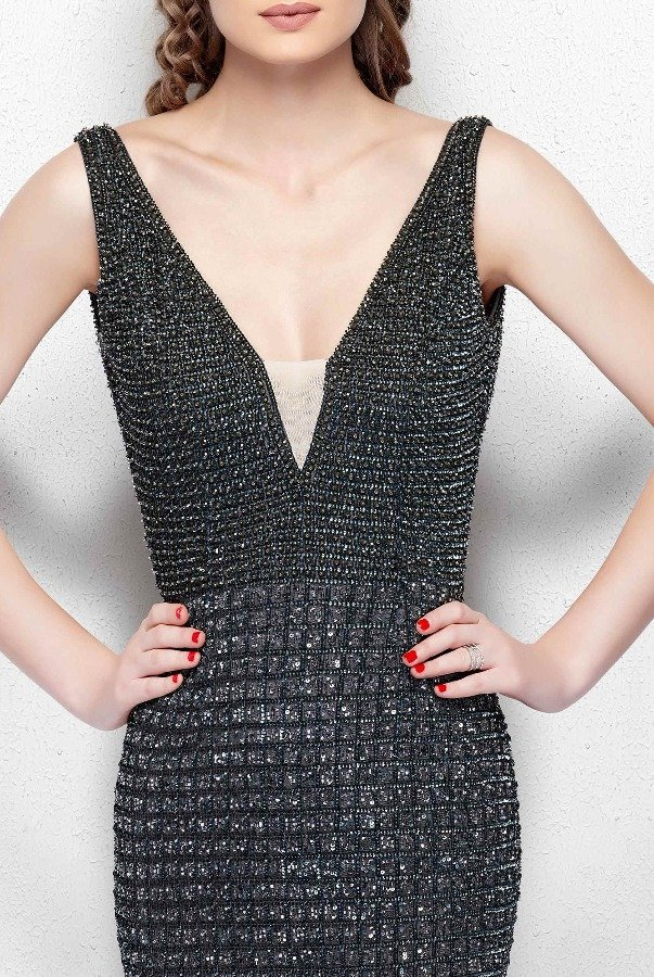 Primavera Couture Gunmetal Sequin Beaded Open Back Evening Gown 3021