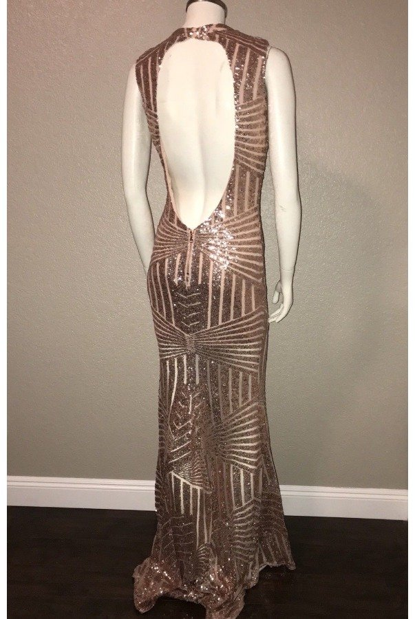 L'atiste by Amy Rose Gold Sequin Beaded Gown with Open Back
